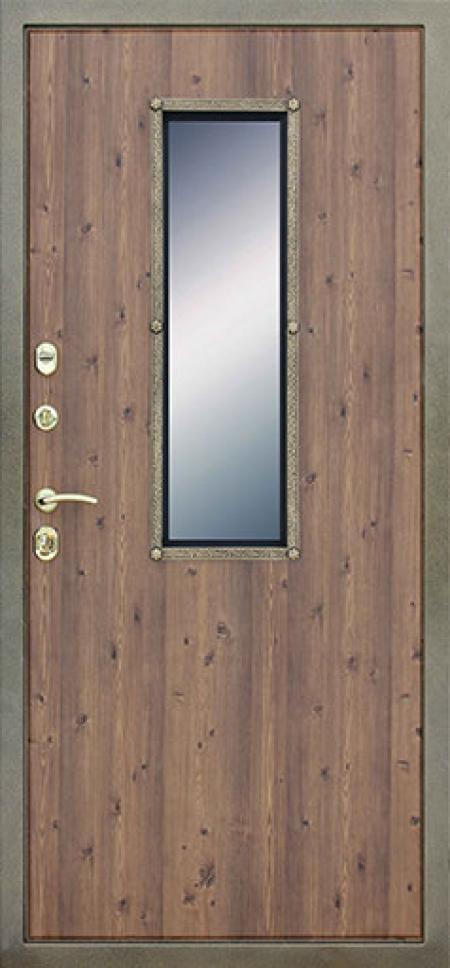 Стальная дверь с окном и ковкой