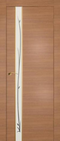 Дверь Маэстро, американский орех, белое стекло - Экошпон