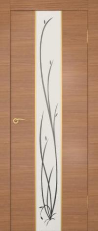 Дверь Гранд, американский орех, белое стекло - Экошпон