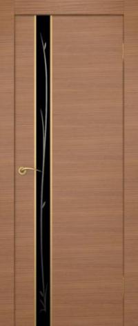 Дверь Маэстро, американский орех, черное стекло - Экошпон