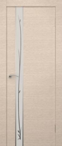 Дверь Маэстро, беленый дуб, белое стекло - Экошпон