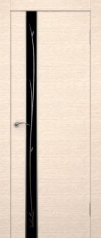 Дверь Маэстро, беленый дуб, черное стекло - Экошпон