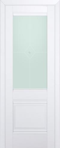 Дверь 2U, аляска, остекленная, матовое №1 с узором