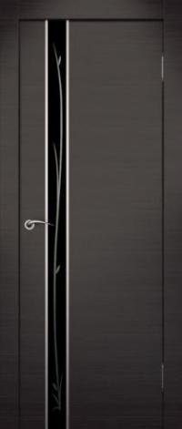 Дверь Маэстро, венге, черное стекло - Экошпон