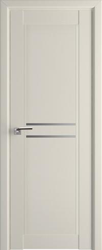 Дверь 2-75U, магнолия сатинат, остекленная