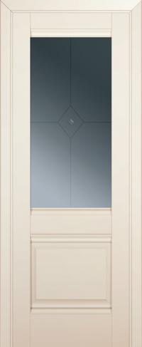 Дверь 2U, магнолия-сатинат, остекленная, граффит №1 с узором
