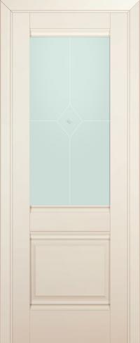 Дверь 2U, магнолия-сатинат, остекленная, матовое №1 с узором
