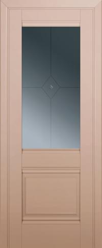 Дверь 2U, капучино-сатинат, остекленная, граффит №1 с узором