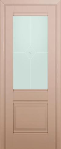 Дверь 2U, капучино-сатинат, остекленная, матовое №1 с узором