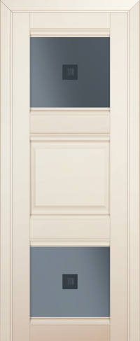 Дверь 6U, магнолия-сатинат, остекленная, графит №2 с узором