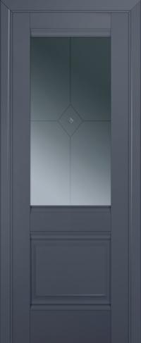 Дверь 2U, антрацит, остекленная, граффит №1 с узором