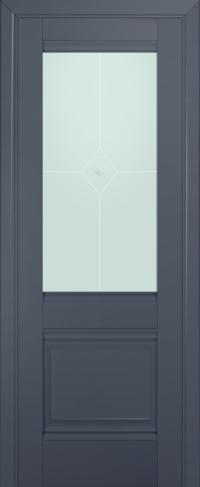 Дверь 2U, антрацит, остекленная, матовое №1 с узором