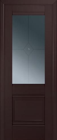 Дверь 2U, темно-коричневый, остекленная, граффит №1 с узором
