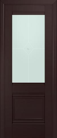 Дверь 2U, темно-коричневый, остекленная, матовое №1 с узором