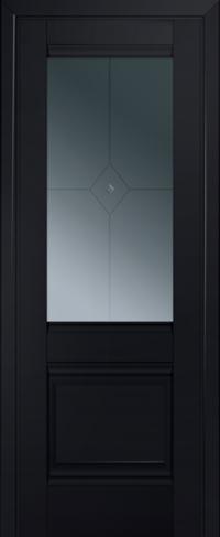Дверь 2U, черный-матовый, остекленная, граффит №1 с узором