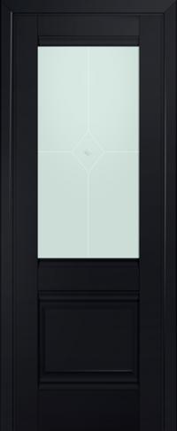 Дверь 2U, черный-матовый, остекленная, матовое №1 с узором