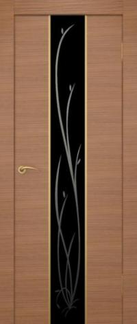 Дверь Гранд, американский орех, черное стекло - Экошпон