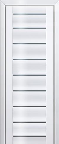 Дверь 76L, белый люкс, остекленная