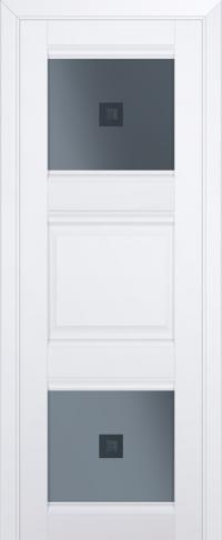 Дверь 6U, аляска, остекленная, графит №2 с узором
