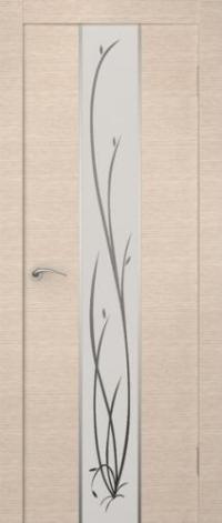 Дверь Гранд, беленый дуб, белое стекло - Экошпон