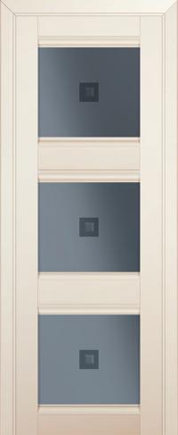 Дверь 4U, магнолия-сатинат, остекленная, графит №2 с узором