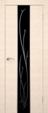Дверь Гранд, беленый дуб, черное стекло - Экошпон