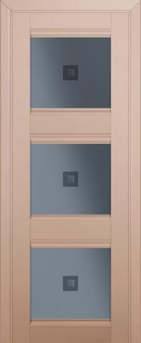 Дверь 4U, капучино-сатинат, остекленная, графит №2 с узором