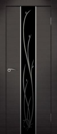 Дверь Гранд, венге, черное стекло - Экошпон