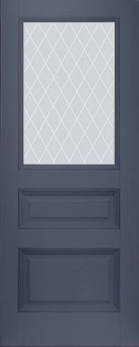Дверь 67U, антрацит, остекленная, матовое с узором