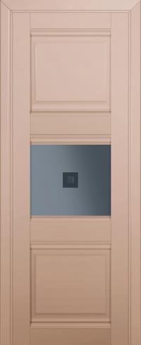 Дверь 5U, капучино-сатинат, остекленная, графит №2 с узором