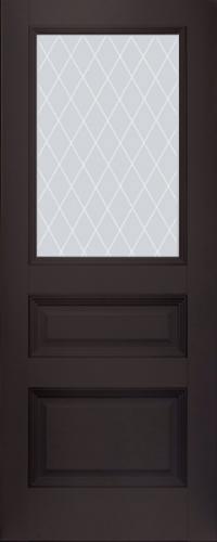 Дверь 67U, темно-коричневый, остекленная, матовое с узором