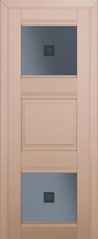 Дверь 6U, капучино-сатинат, остекленная, графит №2 с узором
