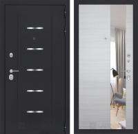 Входная дверь ALFA с Зеркалом - Акация светлая горизонтальная