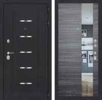 Входная дверь ALFA с Зеркалом - Сандал серый горизонтальный