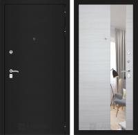 Входная дверь CLASSIC шагрень черная с Зеркалом - Акация светлая горизонтальная