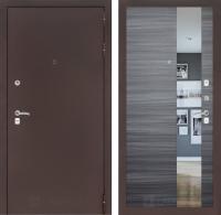 Входная дверь CLASSIC антик медный с Зеркалом - Сандал серый горизонтальный