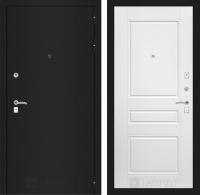 Входная дверь CLASSIC шагрень черная 03 - Белый софт