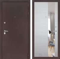 Входная дверь CLASSIC антик медный с Зеркалом - Акация светлая горизонтальная