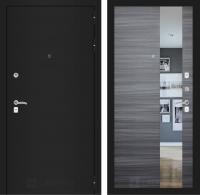 Входная дверь CLASSIC шагрень черная с Зеркалом - Сандал серый горизонтальный