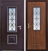 Ажур (уличная дверь со стеклопакетом и ковкой)
