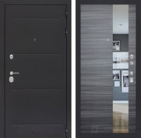 Входная дверь LOFT с Зеркалом - Сандал серый горизонтальный