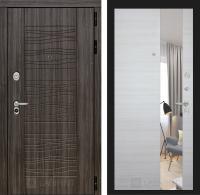Входная дверь SCANDI Дарк грей с Зеркалом - Акация светлая горизонтальная