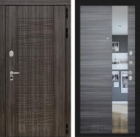 Входная дверь SCANDI Дарк грей с Зеркалом - Сандал серый горизонтальный